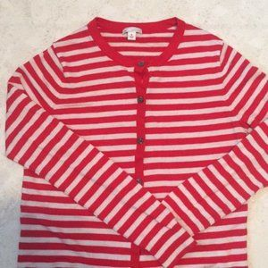 Gap Red Striped Button Down Cardigan